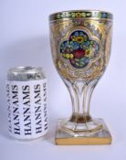 A FINE 19TH CENTURY EUROPEAN ENAMELLED GILDED GLASS GOBLET painted with floral sprays and vines. 21