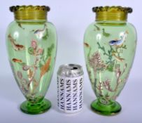 A LOVELY PAIR OF 19TH CENTURY EUROPEAN GLASS VASES enamelled with fish and coral reefs. 26 cm high.