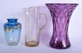 A CANADIAN ART GLASS VASE together with a large vase & jug. Largest 28 cm high. (3)