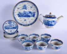 AN EARLY 19TH CENTURY ENGLISH PEARLWARE TEASET painted with landscapes. Largest 24 cm wide. (14)