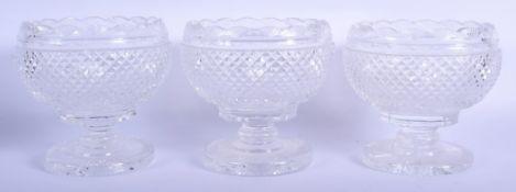 THREE GEORGE III CRYSTAL GLASS BOWLS possibly Irish. 13 cm wide. (3)