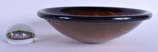 A STYLISH ART DECO DESIGN SMOKEY AMBER GLASS BOWL together with a small paperweight. 23 cm diameter