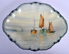 A RARE ROYAL CROWN DERBY PORCELAIN OVAL DISH probably by W E J Dean, painted with sailing boats. 26