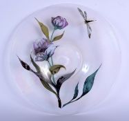 A LOVELY EUROPEAN IRIDESCENT GLASS DISH decorated with dragonflies and foliage. 33 cm diameter.