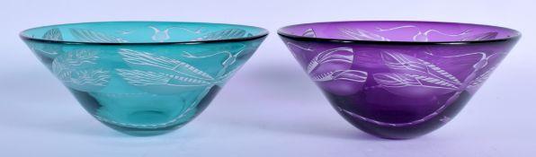 Julia Linstead, Pair of glass bowls, Dragonflies. 14.5 cm diameter.