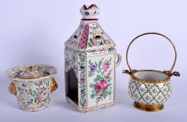 A FRENCH SAMSONS OF PARIS PORCELAIN CANDLE HOLDER together with an inkwell etc. Largest 22.5 cm hig