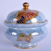 AN ART DECO WILTON WARE LUSTRE PORCELAIN BOWL AND COVER painted with flowers and insects. 14 cm wid