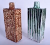 A LARGE PAIR OF STUDIO POTTERY FLASKS by Brooker. 27 cm x 10 cm.