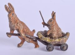 A COLD PAINTED BRONZE RABBIT. 5.5 cm x 4 cm.
