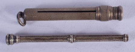 TWO ANTIQUE SILVER PENCILS. London 1911 & Birmingham 1907. (2)
