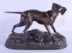 A 19TH CENTURY FRENCH BRONZE FIGURE OF A HUNTING DOG After Jules Moigniez (1835-1894). 30 cm x 22 cm