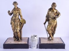 A LARGE PAIR OF 19TH CENTURY EUROPEAN GRAND TOUR BRONZE FIGURES modelled as standing females upon ma