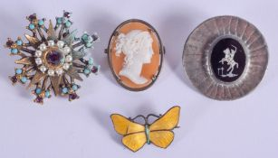 AN ANTIQUE SILVER CAMEO BROOCH together with three others. (4)