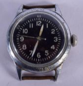A MILITARY TYPE A H WALTHAM WATCH COMPANY BLACK DIAL WATCH. 3.25 cm diameter.