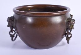 A CHINESE BRONZE CENSER 20th Century. 11 cm wide.