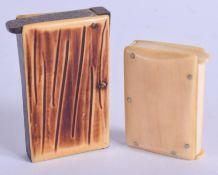 TWO ART DECO IVORINE MATCH BOXES. Largest 6 cm x 3 cm. (2)