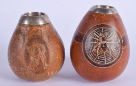 A PAIR OF VINTAGE CONTINENTAL SILVER GOURD VASES. 10 cm high.