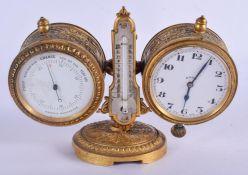 A 19TH CENTURY EUROPEAN GILT METAL CASED BAROMETER CLOCK DESK STAND. 15 cm x 11 cm.
