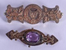TWO ANTIQUE SILVER BROOCHES. Largest 6 cm long. (2)