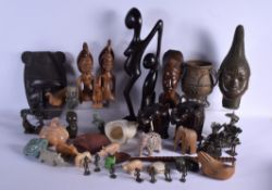 A LARGE COLLECTION OF AFRICAN ARTEFACTS including 1970s Benin bronzes etc. (qty)