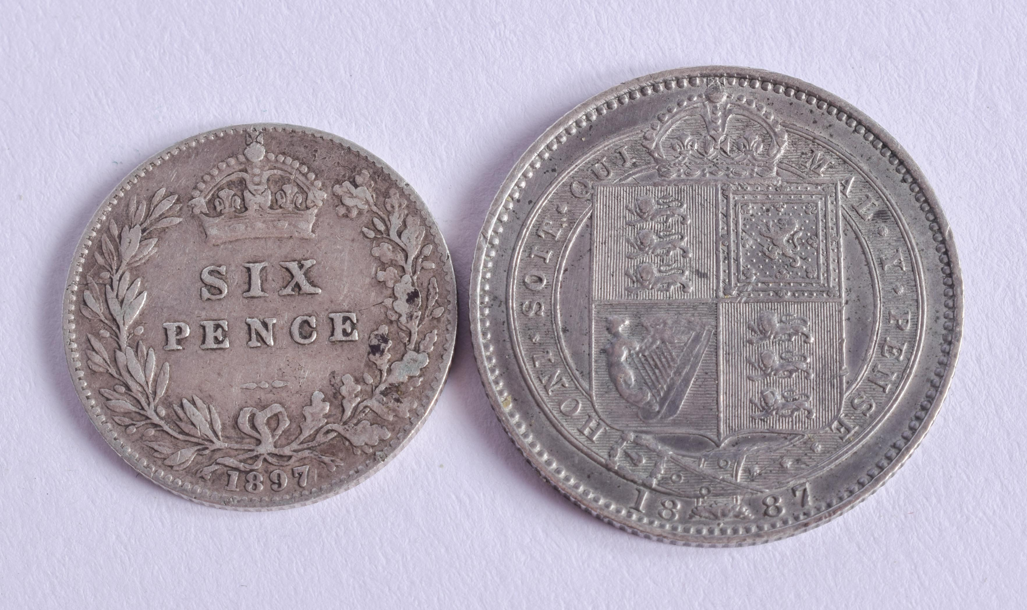 A VICTORIAN SIXPENCE and a shilling. (2) - Image 2 of 2