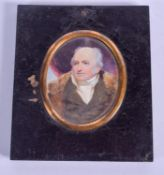 AN EARLY 19TH CENTURY ENGLISH PAINTED IVORY PORTRAIT MINIATURE depicting John Cowley Esq. Image 6 cm