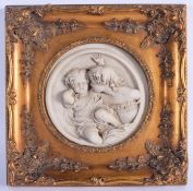 A CONTEMPORARY MARBLE STYLE CLASSICAL PANEL. 30 cm square.
