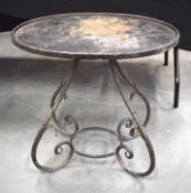 A VINTAGE FRENCH WROUGHT IRON TABLE. 70 cm x 60 cm.
