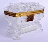 A MAJESTIC EARLY 19TH CENTURY EUROPEAN CUT GLASS CASKET with fine paw feet and engraved brass mounts