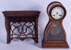 AN UNUSUAL ANTIQUE FRENCH MALECOT A PARIS BRACKET CLOCK with bracket. Clock 31 cm x 15 cm. (2)