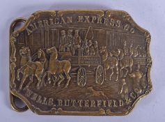 AN AMERICAN EXPRESS CO WELLS BUTTERFIELD BELT BUCKLE possibly Tiffany & Co. 11 cm x 7.5 cm.