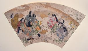 AN UNUSUAL EARLY 20TH CENTURY JAPANESE MEIJI PERIOD WOODBLOCK PRINT with painted and gilded motifs.