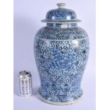 A LARGE 19TH CENTURY CHINESE BLUE AND WHITE VASE AND COVER possibly shipwreck. 43 cm x 20 cm.