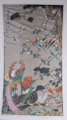 A 19TH CENTURY JAPANESE MEIJI PERIOD WATERCOLOUR ON SILK decorated with birds and foliage. Image 98