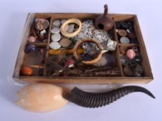 A COLLECTION OF TRIBAL & NATURAL HISTORY ARTIFACTS including bangles, shells etc. Tray 42 cm x 30 cm