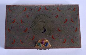 A LOVELY PERSIAN ENAMELLED RECTANGULAR BOX finely decorated with birds, set with an emerald, sapphir
