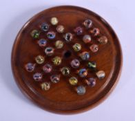 ANTIQUE SOLITAIRE MARBLE BOARD. Marble 1 cm wide. (qty)