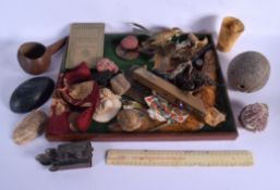 A BOX OF ASSORTED ANTIQUES AND CURIOSITIES including shells and masks etc. (qty)