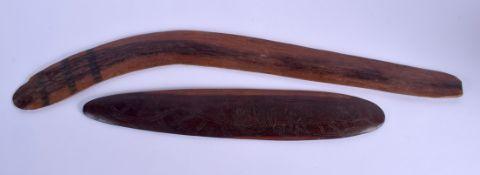TWO TRIBAL ABORIGINAL BOOMERANGS. Largest 66 cm long. (2)
