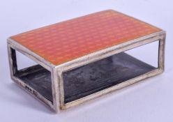 AN ART DECO SILVER AND ENAMEL MATCHBOX HOLDER. 49 grams. London 1925. 6 cm x 4 cm.