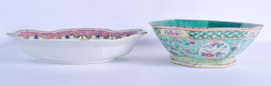 A LARGE 18TH CENTURY CHINESE DISH Qianlong, together with a bowl. Largest 34 cm x 20 cm. (2)