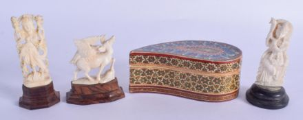 THREE ANTIQUE ANGLO INDIAN IVORY FIGURES together with a large mosaic inlaid box. Largest 11 cm x 6
