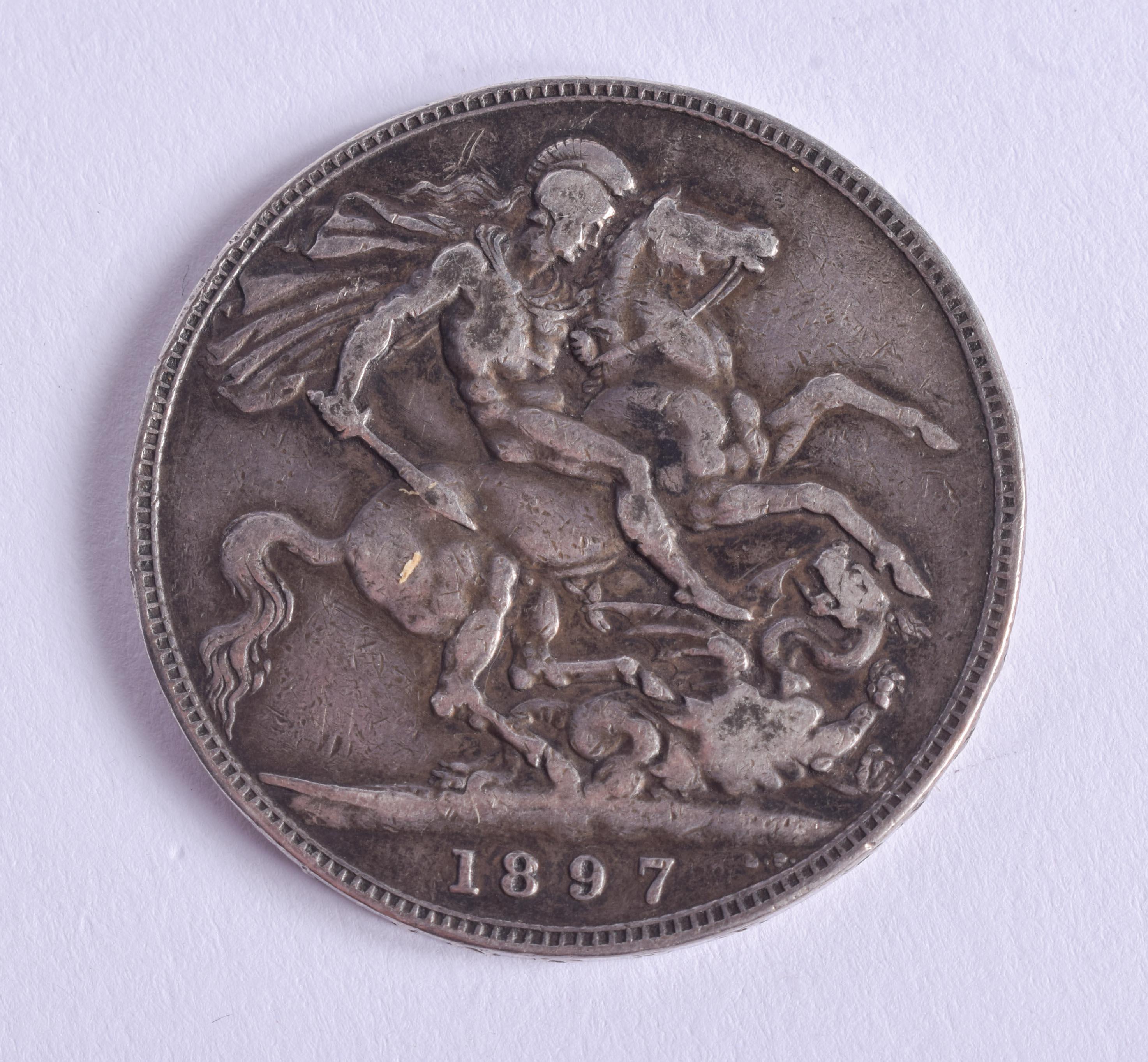 A VICTORIAN 1897 SILVER CROWN.