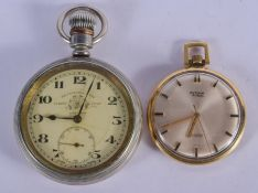 A THOMAS RUSSEL & SON POCKET WATCH and a smaller retime watch. Largest 5 cm wide. (2)