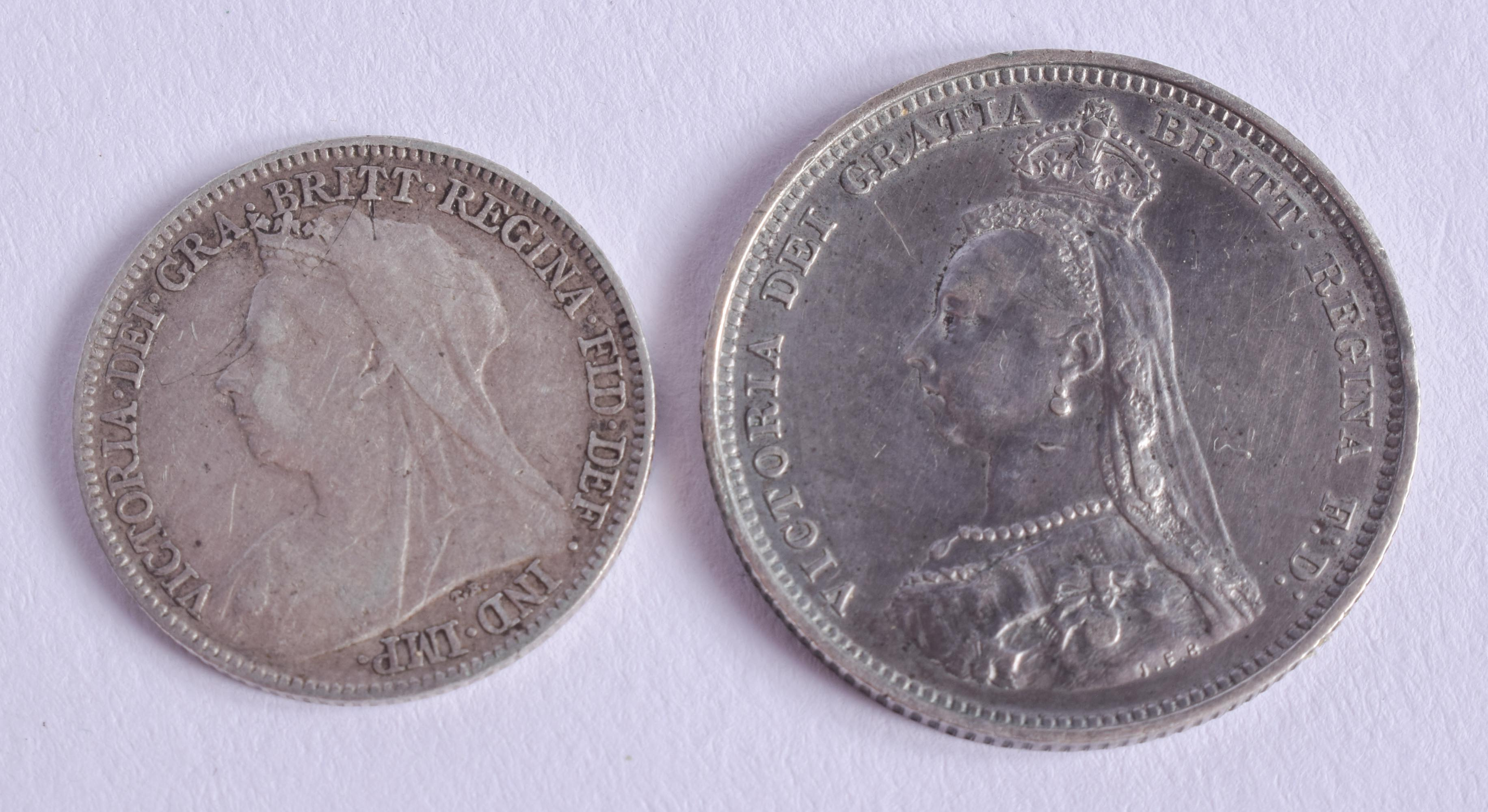 A VICTORIAN SIXPENCE and a shilling. (2)