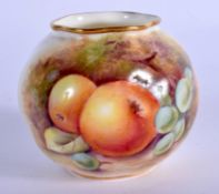 Royal Worcester swirl moulded globular vase painted with fruit signed K Cresswell, dated 1952, shape