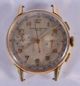 A VINTAGE GOLD BAUME & MERCIER SILVERED DIAL WATCH. 30 grams overall. 3.25 cm wide.