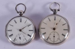 TWO ANTIQUE SILVER POCKET WATCHES. 5 cm diameter. (2)