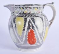 A RARE EARLY 19TH CENTURY SUNDERLAND SILVER LUSTRE JUG. 14 cm high.