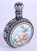 A FINE 19TH CENTURY RUSSIAN SILVER AND ENAMEL SCENT BOTTLE wonderfully painted with floral sprays an